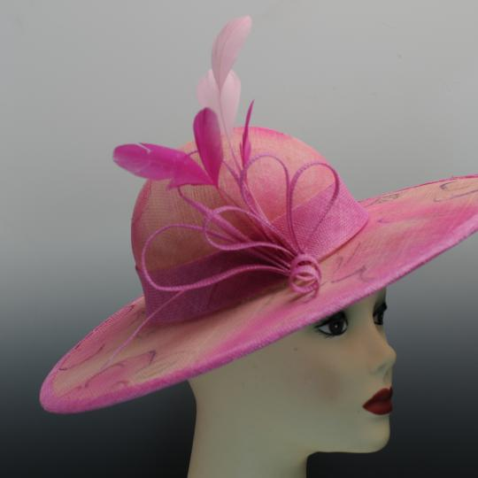 Hand Painted Hand Blocked Pink Sinamay Hat