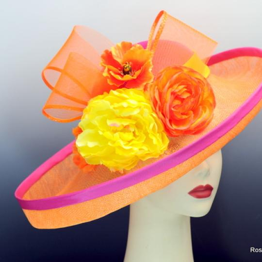 Pink and Orange Derby Hat