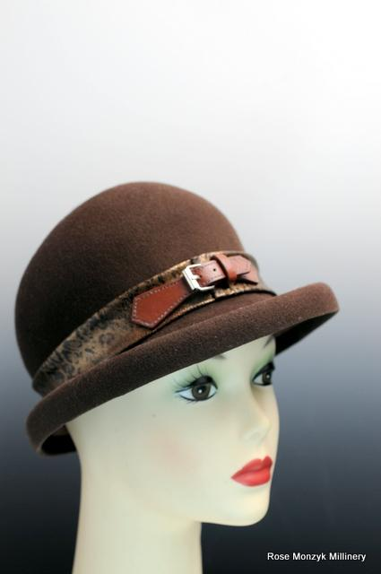 Brown Wool Felt Cloche Wih Buckle